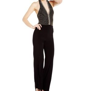 Halter Embellished Black Jumpsuit